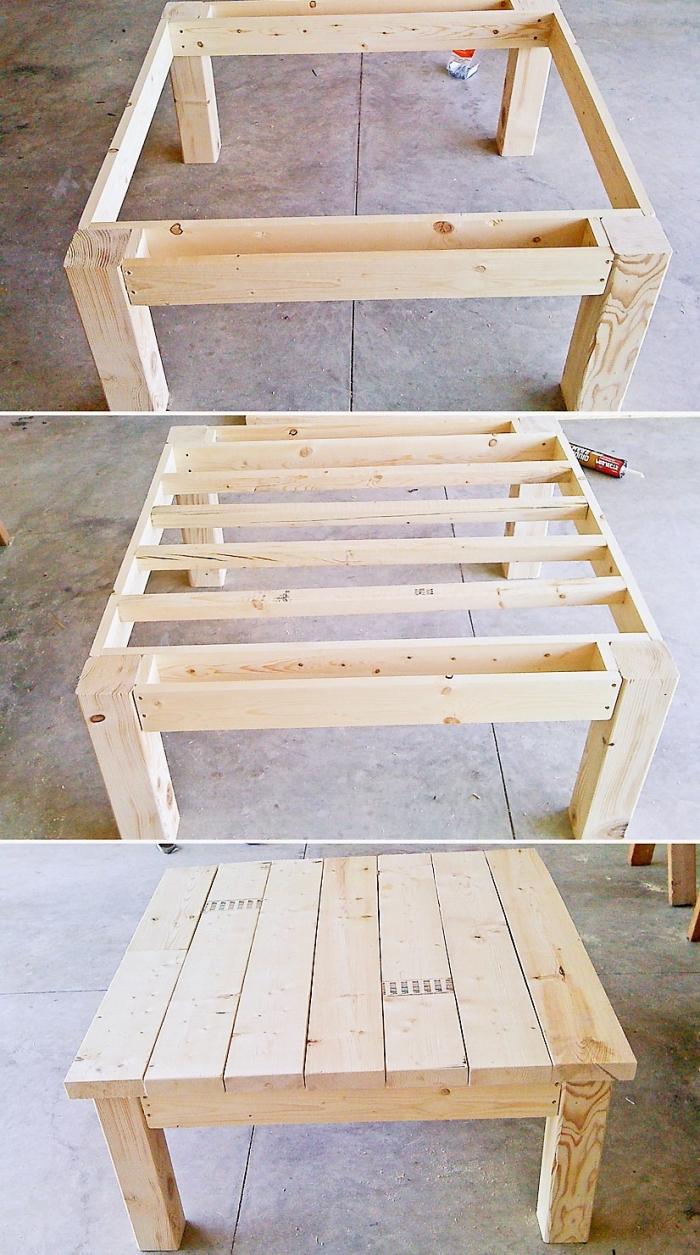 tutoriel comment assembler une table extérieur en palette, pas à pas recyclage palette facile, mobilier de jardin fait main