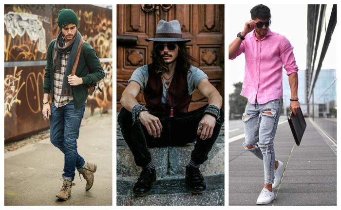 comment porter un vetement homme stylé, jean bleu, chemise tartan, parka vert, pantalon en velours