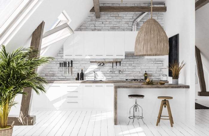 comment décorer une cuisine en style scandinave et bohème avec papier peint à effet briques, décoration cuisine moderne modele de cuisine blanc et bois