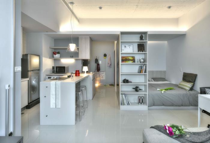 idée aménagement cuisine dans studion petit studio design couleur gris clair, étagère colonne autoportante