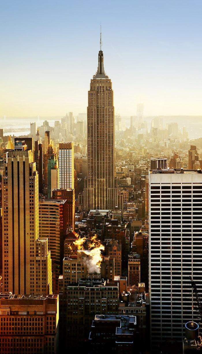 New York beau dessin paysage, amérique du nord paysage, comment dessiner d'une photo au coucher de soleil