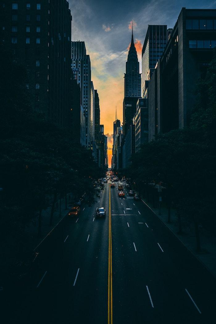 La beauté de New York au coucher de soleil, les rues new-yorkais, beau paysage pour fond d'écran urbain, civilisation photographe