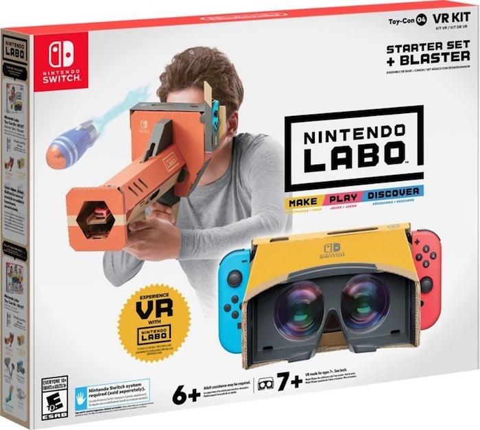 photo de la boite de jeu Nintendo qui lance un kit de réalité virtuelle en carton VR labo pour Switch