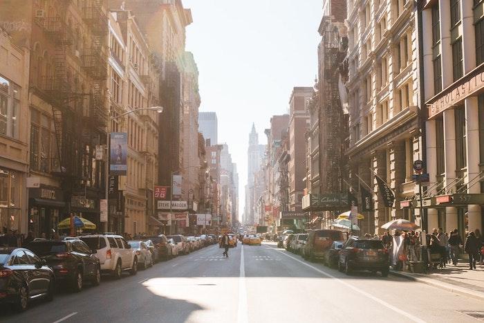 New York Broadway street fond d'écran paysage, beau paysage urbain, image à télécharger