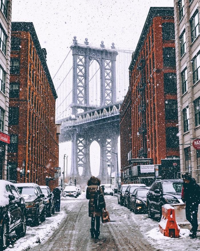 Brooklyn pont hiver, paysage magnifique de New York, beau paysage urbain, motivation de voyager