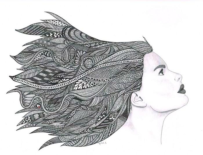 Fille dessin cheveux originaux, dessin de motif fleuri, dessin etape par etape belle fleur à dessiner simplement