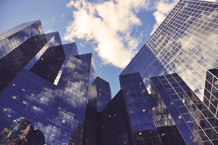 Bâtiments en verre, grattes ciel district fond ecran paysage de ville, paysage urbain, photo inspiration voyage