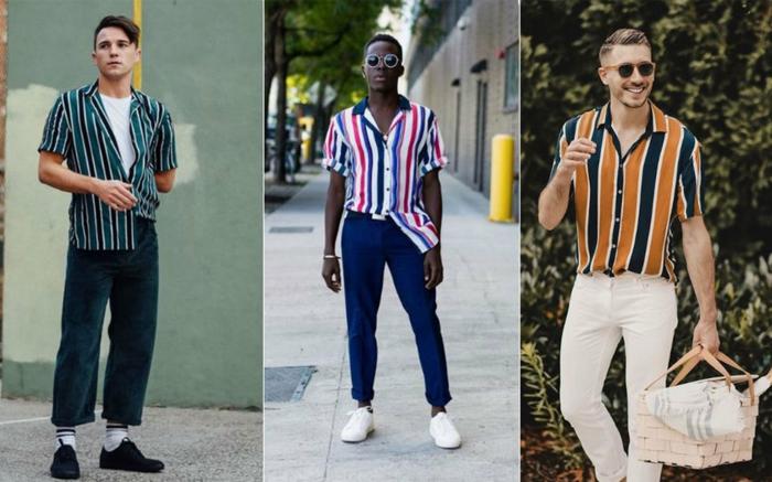 chemises aux rayures, pantalon ample en velours, pantalon bleu, jean blanc, panier pique nique