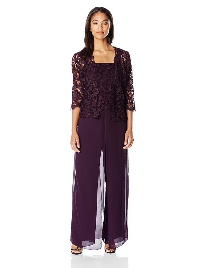 exemple de tenue mariage femme pantalon, quelle couleur vêtements pour mariage civile, modèle de pantalon fluide foncé