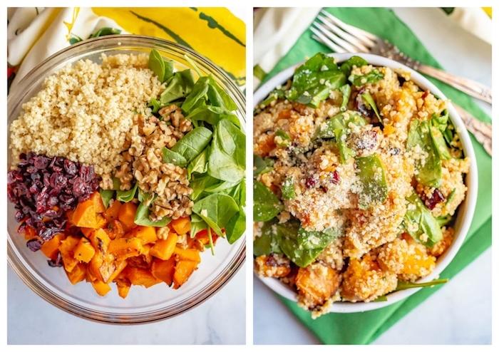 salade d hiver avec quinoa, noix, épinards, patates douces et canneberges, quoi manger ce soir vite fait