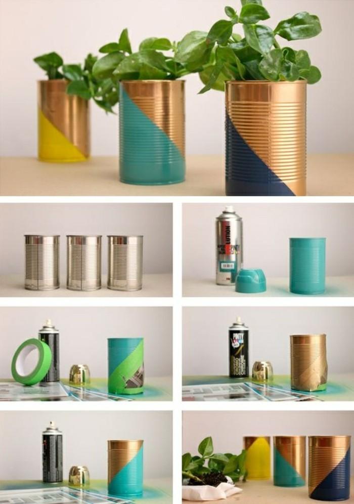 bricolage avec boite de conserve vide, peindre une canette avec peinture aérosol dorée, pot à fleur fait main