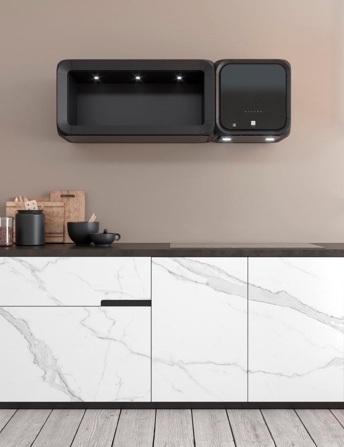 quelle peinture pour les murs cuisine contemporaine, modèle meuble cuisine avec comptoir noir mate et meubles bas marbre