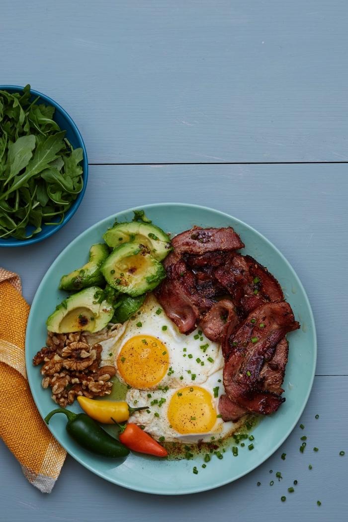 des oeufs au plat accompagné de bacon et d'avocat, idée de petit déjeuner keto, recette avec des oeufs parfait pour un petit déjeuner keto