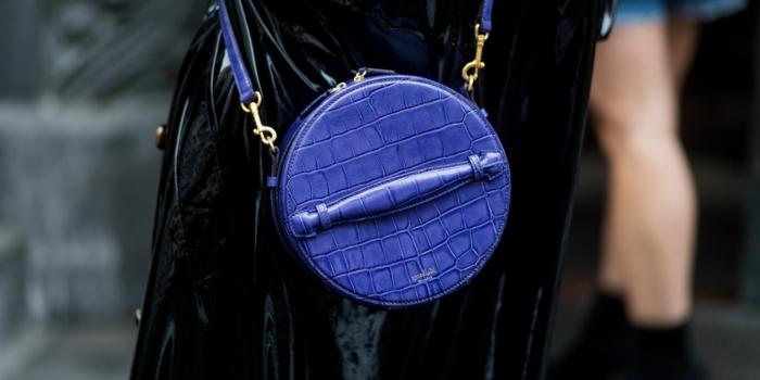 sac à main tendance bleu, sac à main bandoulière, sac circulaire avec poignée et bandoulière