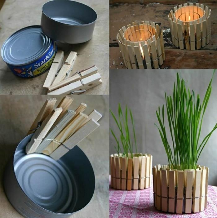 créations avec boîte conserve de poisson, faire un pot à fleur à imitation clôture bois avec canette et pinces bois