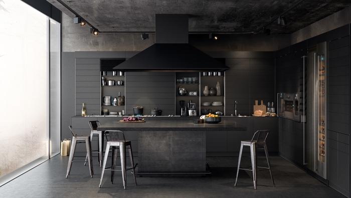 couleur cuisine tendance 2019, modele de cuisine en noir mate et gris anthracite, déco de cuisine avec îlot table