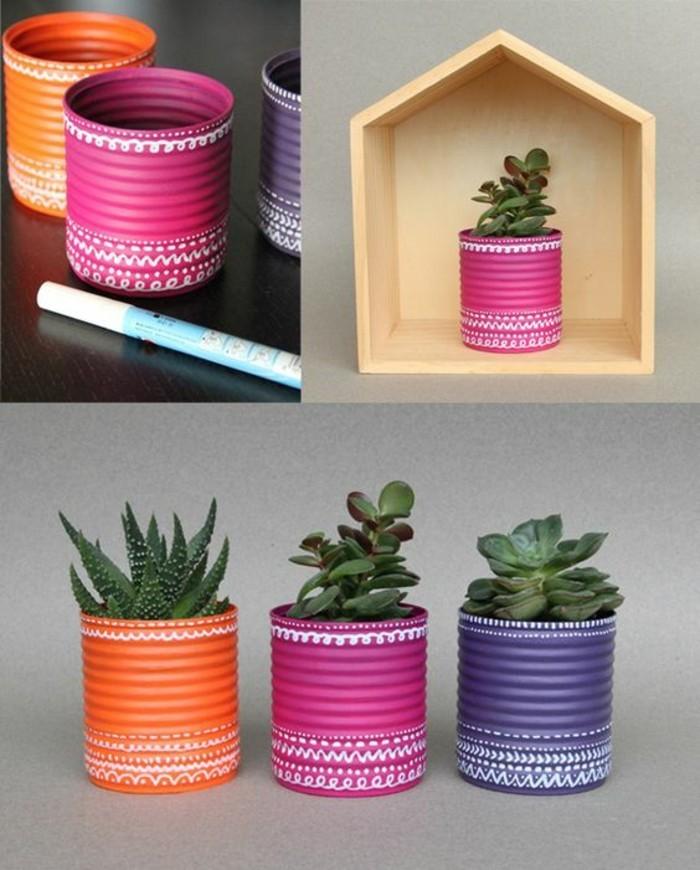 objet de déco DIY en canette, faire un pot à fleur pour succulente, comment recycler les boîtes de conserve aluminium