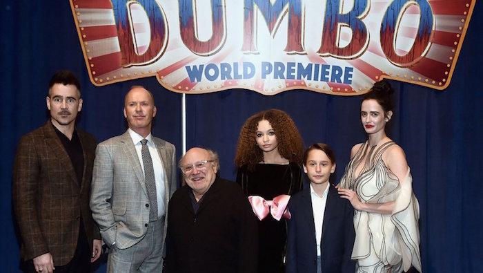 Photo de la première mondiale de Dumbo de Tim Burton Disney avec Colin Farrell Michael Keaton Danny DeVito Eva Green qui sort le 27 mars 2019