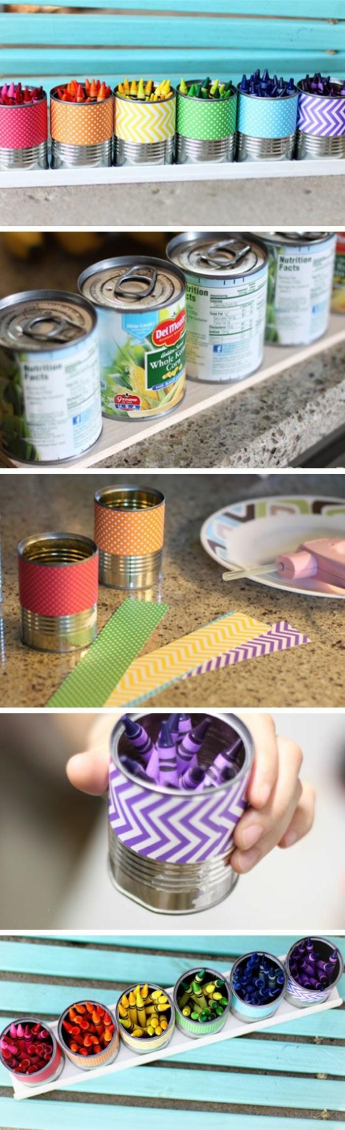 idée recyclage boite de conserve aluminium, décorer les canettes avec washi tape, diy porte-crayons facile à faire