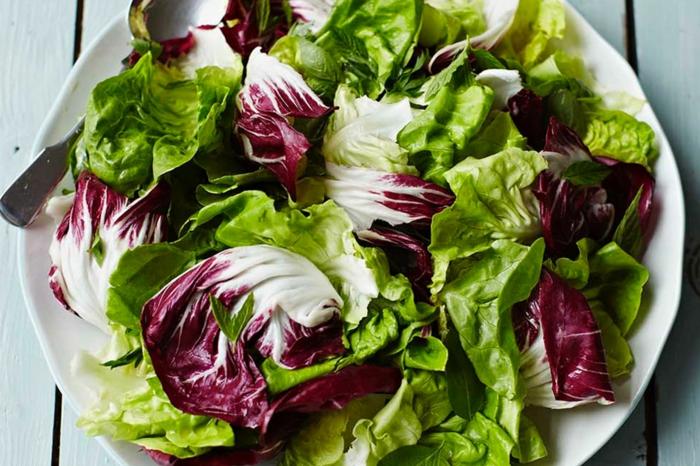 salade laitue simple, laitue verte et rouge, assiette blanche, feuilles de laitue arrangées