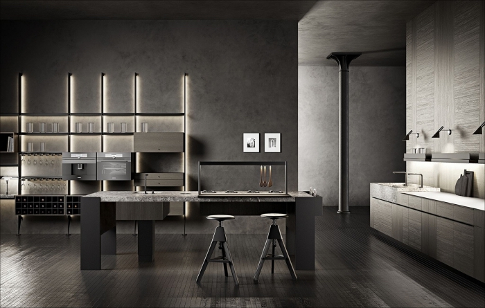 modele de cuisine moderne en gris anthracite et noir, idée éclairage moderne pour meuble rangement de cuisine