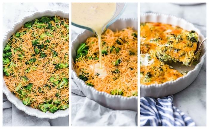comment faire un quiche aux broccoli nappé de fromage cheddar avec mélange de yaourt et oeufs
