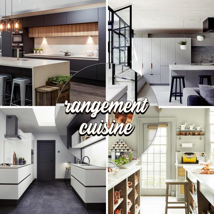 meubles de cuisine pour rangement ouvert et fermé, comment optimiser l'espace avec meubles rangement mural