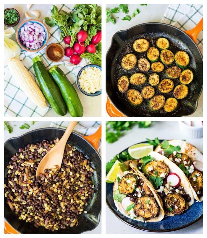 idée de tacos aux courgettes avec des haricots noirs et maïs, plat vegetarien cuisine mexicaine