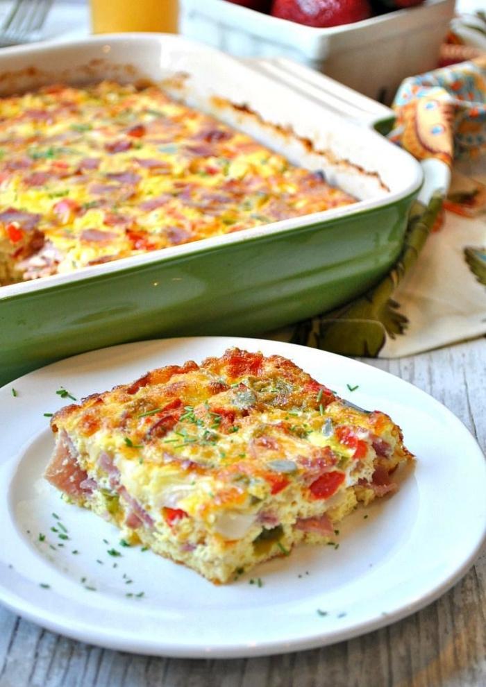 recette d'omelette américaine de tomates, de fromage cheddar et de poivrons rouges et verts, gratin aux oeufs facile, recette avec beaucoup d'oeufs