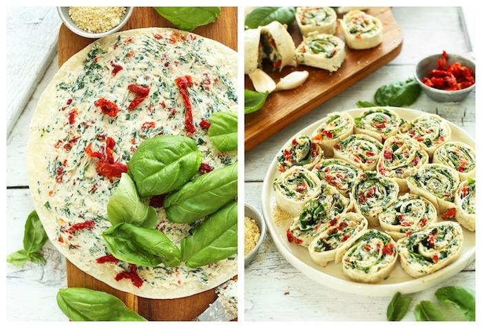 rouleaux tortilla aux épinards, fromage à la crème, tomates séchées et basilic, apéro végétarien facile et rapide