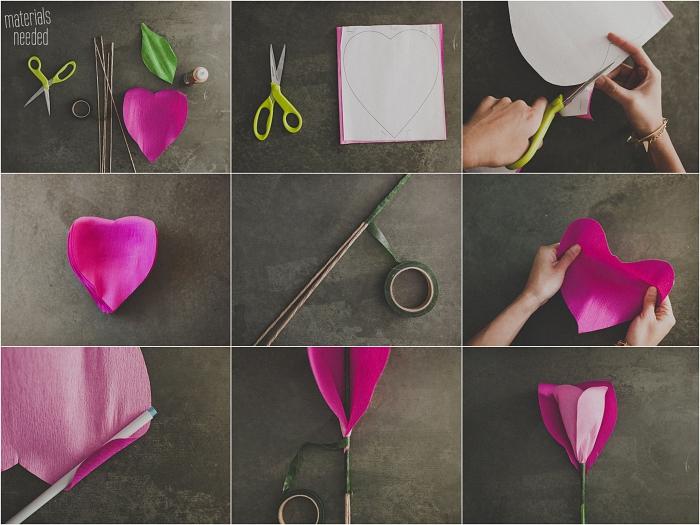 une rose en papier crepon géante pour remplacer un bouquet de mariage classique, tuto pour réaliser une rose à partir d'un patron à découper