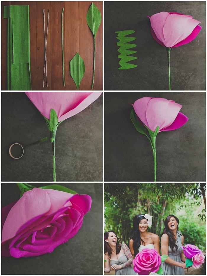tuto pour faire une rose en papier crepon géante, une fleur en papier géante en guise de bouquet de mariage classique