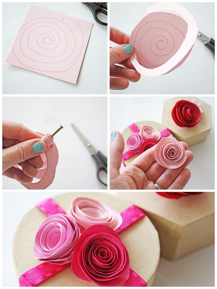 faire des fleurs en papier pour décorer une boîte à cadeau de façon originale, emballage cadeau à faire soi-même avec roses en papier