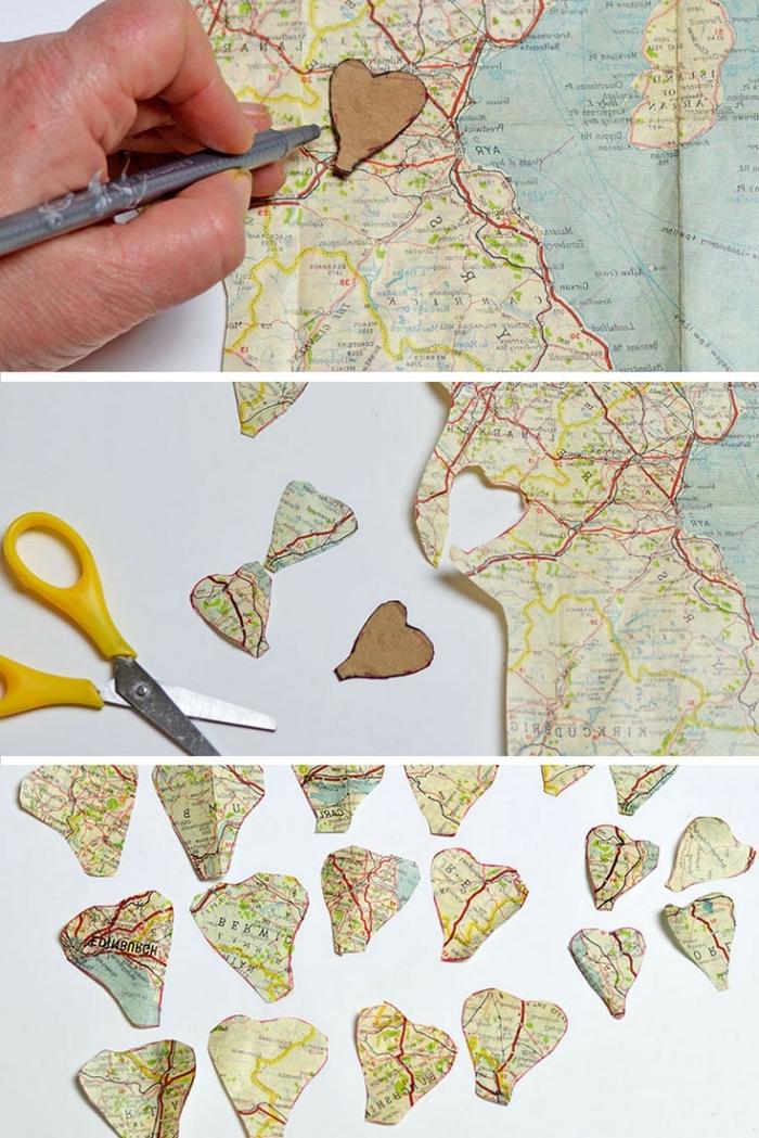 tuto fleur en papier facile réalisée avec des pétales découpées dans une ancienne carte routière, rose vintage en papier récup