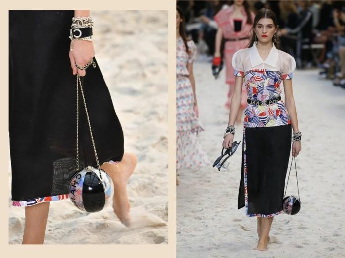 sac bol qui ressemble à un ballon, jupe noire, sac à main original pour l'été
