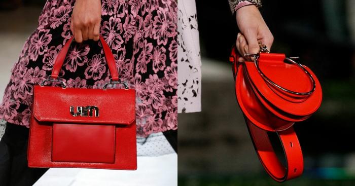 sac à main rouge, pochettes originales, petit sac rond, sac cartable femme, robe florale rose et noire
