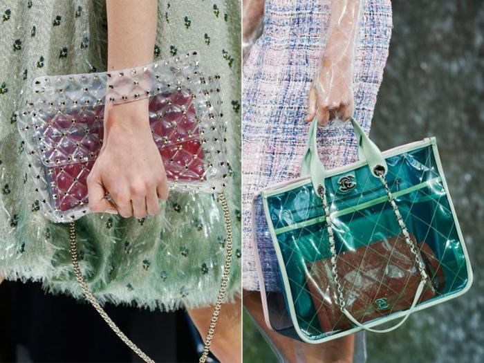 modèles de sac transparents, grand sac a main en acrylique texturée, robes longues en coton