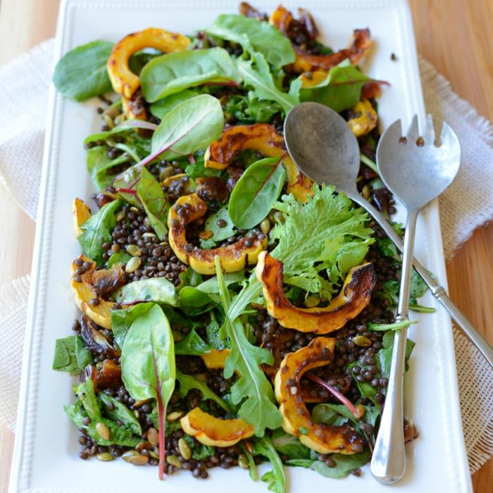 patate douce, épinards, lentilles, roquette, salade composée originale, entrée salade