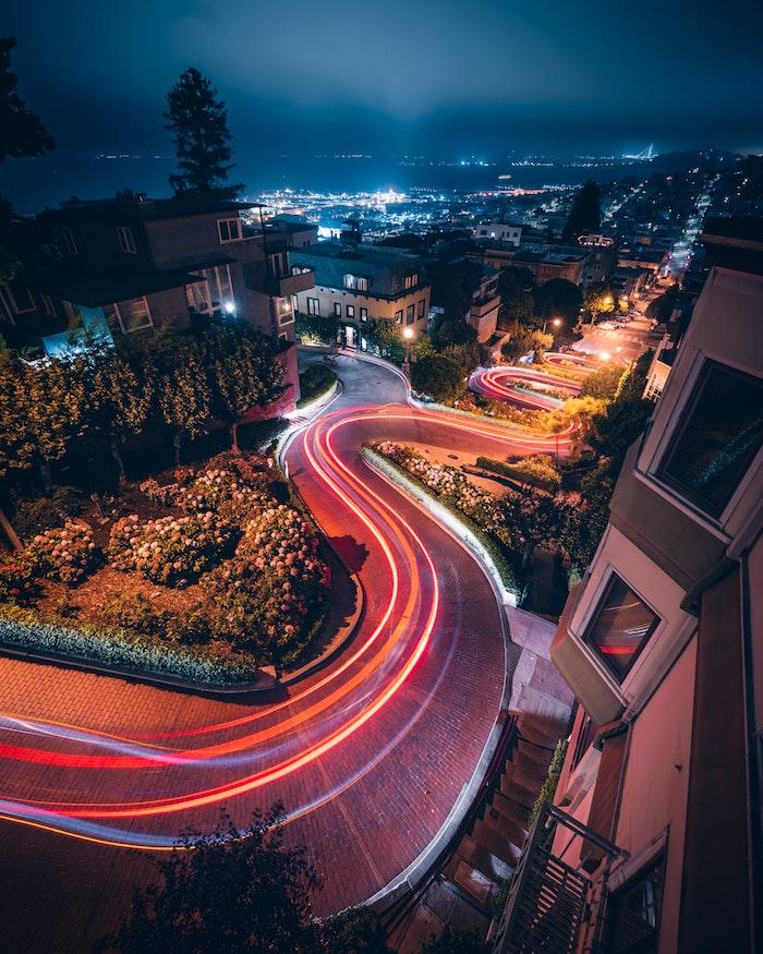 San Francisco une des plus courbues rues idée de dessin paysage d'une photo, fond d'écran paysage ville,