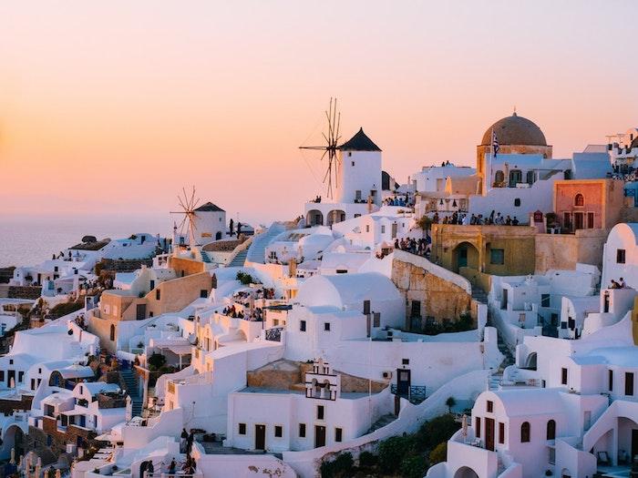 Mykonos Grèce photo de paysage au coucher de soleil, image urbaine, les plus belles villes du monde fond d'écran
