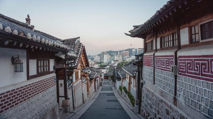 Seoul beau paysage, photo de paysage urbain, photo à reproduire en dessin paysage, Korea ville ancienne