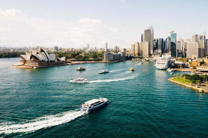 Australie paysage d'hiver, photo de paysage, créer de beauté autour de soi, la beauté de la mer et la ville ensemble\
