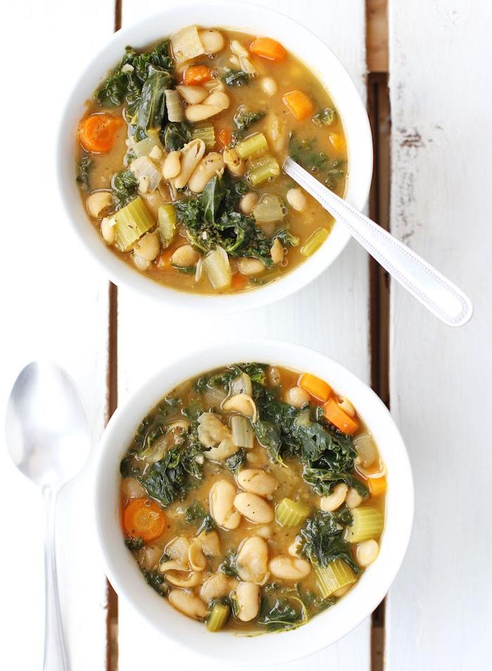 soupe aux haricots blancs, carottes et chou frisé, comment faire un repas du soir léger et facile