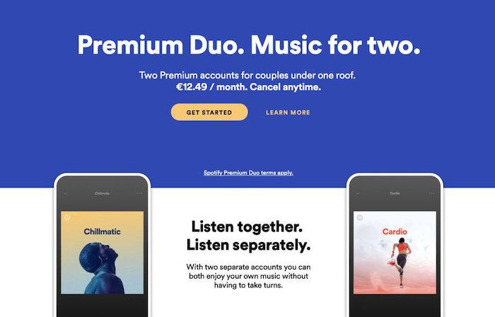 Spotify vient de lancer une nouvelle offre Premium Duo destinée aux couples avec playlist partagée Duo Mix