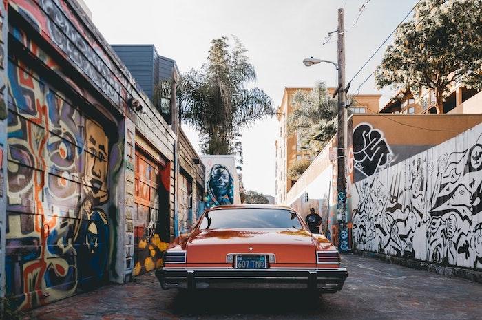 Voiture vintage, San Francisco graffiti rues, California paysage printemps, photo de paysage, idée fond d'écran ville