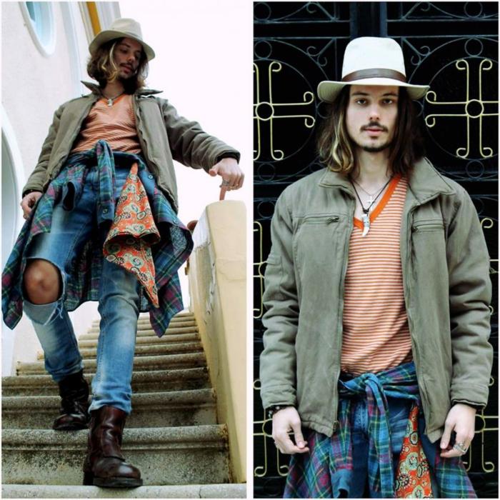 vetement hippie chic, jean déchiré, veste verte, shirt rayé, chapeau blanc, bottes bohèmes
