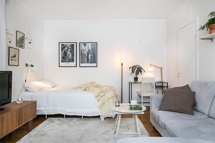 style scandinave d amenagement avec canapé gris et lit blanc, mur de cadres noir et blanc, meuble tv bois, tapis gris clair