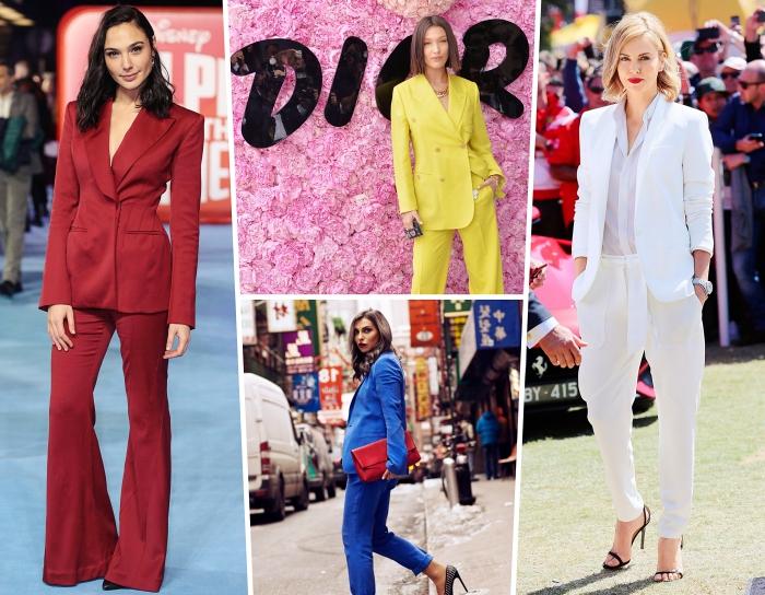 modèle de pantalon tailleur femme, comment assortir les couleurs de ses vêtements, exemple costume bleu avec sac à main rouge