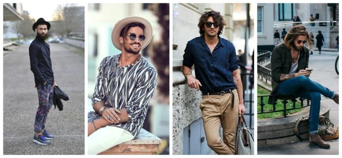 pantalon champetre homme, shirts et jeans, pantalon aux imprimés, jean bleu, chapeau beige