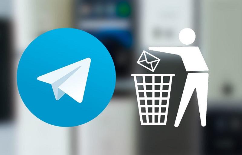 Image avec logo Telegram et corbeille pour illustrer la nouvelle fonction 5.5 de suppression des messages et chats sans délai de temps